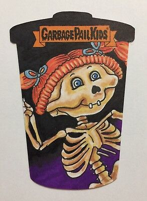 2018 Garbage Pail Kids Bony Joanie/Thin Lynn Die Cut Sketch Card-Barnard Art TWT