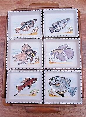 Rare Toni Raymond Pottery Vintage Fish Hors D'ouevres Set 6 Dishes & Wooden Tray
