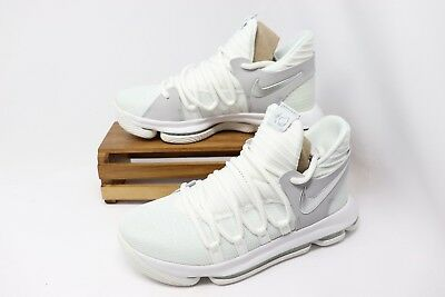 Nike Zoom KD10 (GS) Basketball Shoes White Chrome Platinum 918365-100 Youth NEW