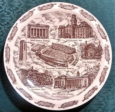 "Vernon Kilns ""University of Nebraska"" Ceramic Plate 10.5""D"