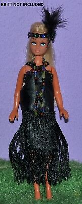 """Flapper Outfit Black Made To Fit Pippa & Dawn Dolls Handmade Custom 6"""" No Doll"""