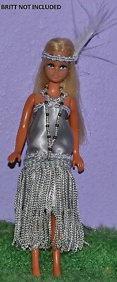 """Flapper Outfit Silver Made To Fit Pippa & Dawn Dolls Handmade Custom 6"""" No Doll"""