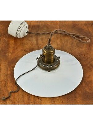 1900'S Industrial Single Electric Pendant Light Fixture With Bryant Ceramic Ceil