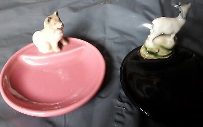 Set of 2 Classic vintage WADE ceramic animal dishes in pink and black.