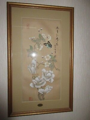 Oriental hand painted silk picture in gold finished frame