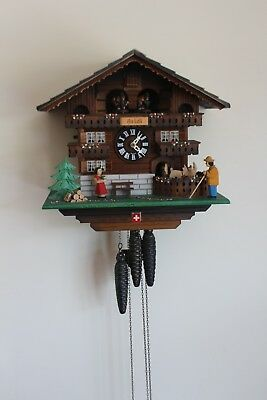 Black forest 'Heidi' cuckoo clock - with rotating dancers and goats