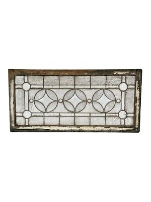 20Th C Prairie Style Transom Window With Combination Ripple And Beveled Cut Glas