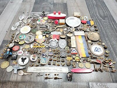 Vintage Junk Drawer Lot Cuff Links, Military, Coins, Tokens, Medals, Buttons etc