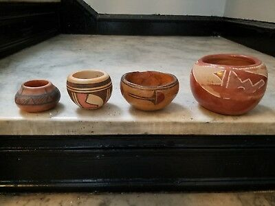 **Vintage Collection of 4 Native American Painted Pottery Bowls**