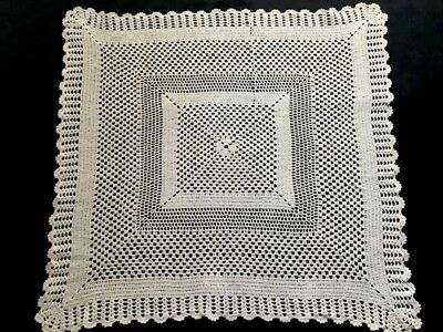 "Edwardian Vintage Large 22""SQ Elegant Doily Centerpiece Geometrical Pattern"