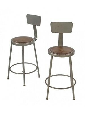 1960's Adjustable Height Factory Stools With Leg Extensions And Gray Enamel Fini