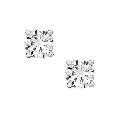 0.50 ct ROUND CUT diamond stud earrings 14K WHITE GOLD F  VS2 A STEAL DEAL!