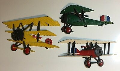 Lot of 3 Vintage 1975 HOMCO Cast Metal Wall Hanging Airplanes Tri and Biplanes