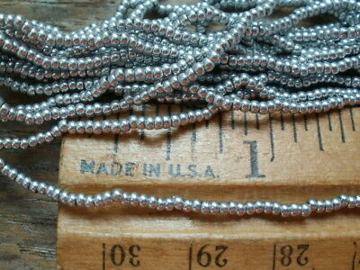 Sale! Antique French Cut Steel Bead Hank Silver  Round Rare Vintage Seed Beads