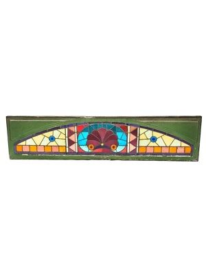 C. 1880's Art Glass Residential Transom Window With Original Wood Sash Frame