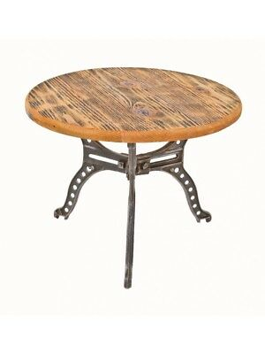 20Th C Three-Legged Cast Iron Boiler Stand Or Table With Circular-Shaped Pine Wo