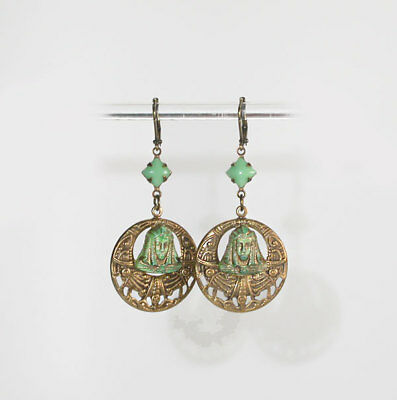"GORGEOUS ANTIQUE 1920's ART DECO ""Nile Green"" GLASS EGYPTIAN MASK HOOP EARRINGS!"