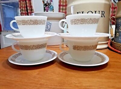 Mixed Lot 8 pc's 4 Pyrex Woodland Tea Cups and 4 Corelle Saucers GUC
