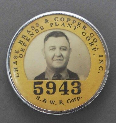 Vintage Chase Brass Copper Defense Plant Employee Photo Id Badge S&w E Robbins