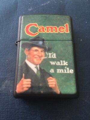 Vintage 96 Light Use Black Matte Camel Cigarettes I'LD WALK A MILE Zippo Lighter