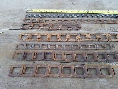 Lot of 7 antique and vintage  Rusty Iron Square Link Chain metal art (#8)