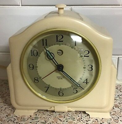 Vintage Smiths Sectric Alarm Clock Cream Bakelite In Working Order