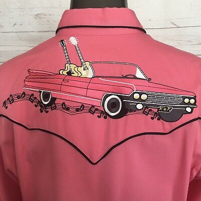 Vintage SCULLY Women's Pearl Snap Shirt Guitars Cadillac Rockabilly Sz LARGE Top