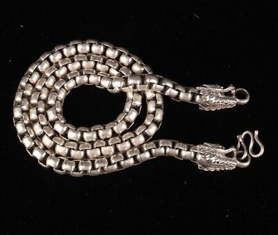 Tibetan Silver Hand Carved Dragon Statue Necklace Decoration Old Gift Collection