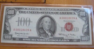 $100 United States Note - Series 1966 - One Year Type - Red Seal - Uncirculated