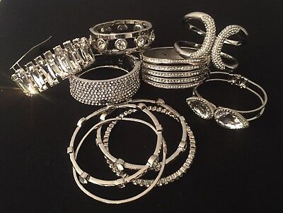Signed Sara Bella Silver Tone Rhinestone Hinged Cuff Bracelet Collection Lot NOS