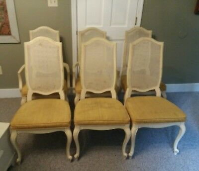 Six Vintage French Country Provincial Off White Cane Back Dining CHAIRS Chic