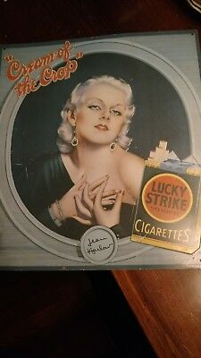 """LUCKY STRIKE JEAN HARLOW """"CREAM OF THE CROP"""" CIGARETTE AD Metal SIGN"""