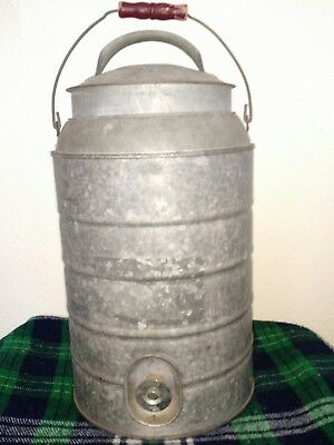 Vtg antique 3 Gallon Water Cooler Galvanized Steel Igloo Style Rustic Decor