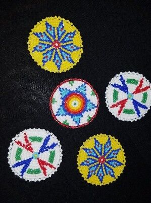 Assortment of beaded Leather Circles Plains Native American Indian