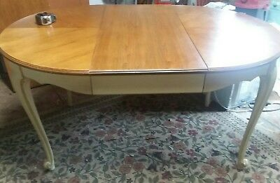 Vintage  French Provincial Country Cottage Chic Dining Table  with 2 Leaves