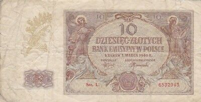 1940 Poland 10 Zlotych Note, Pick 94