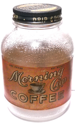 """WARFIELD'S MORNING CUP COFFEE LABELED JAR, STERLINGLASS, """"Mason Caps Fit"""""""