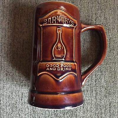 Hall USA Barnaby's Mug Beer Stein Restaurant Pizza Cup Ceramic Retro 1970'S