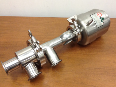 "Ladish-Tri-Clover - 1-1/2"", 316L Stainless Steel, Pneumatic Actuated Plug Valve"