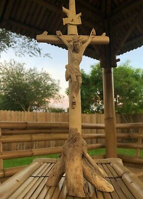 "21"" Carved Satinwood Crucifix Jesus Christ INRI Cross Statue Sculpture Stand"