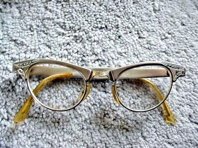 VINTAGE 1950s / 1960s ARTCRAFT ALUMINUM FRAMED GLASSES WITH CASE NICE CONDITION
