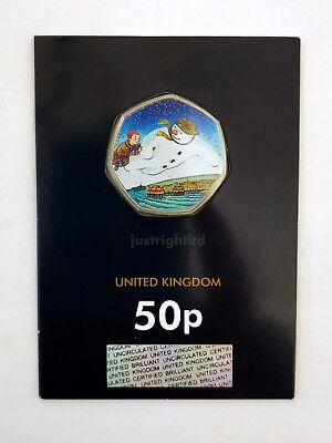 2018 The Snowman 50p CERTIFIED BU with colour sticker Fast dispatch Free Post