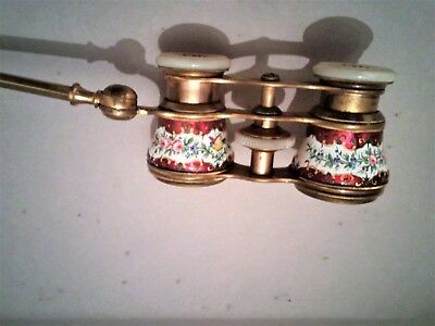 Red and White French Enamel Opera Glasses