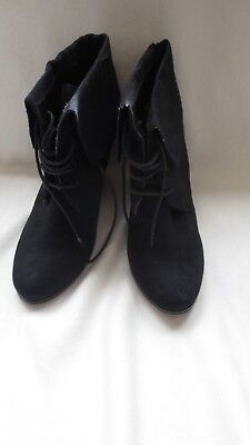 "Ladies Girls Black Novo ""patty"" Suede Look Platform Lace Up Ankle Boot"