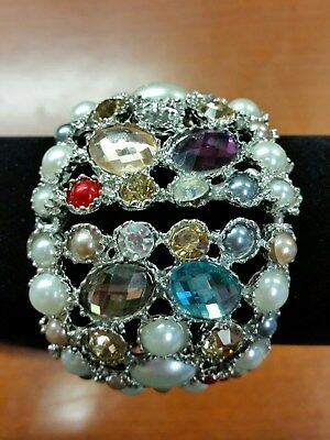 Very Heavy Colorful Crystal & Pearl Hinged Silver Wide Cuff Bracelet MAKE OFFER!