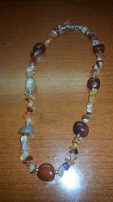 JUST REDUCED $5 Native American Necklace Burnt Orange & Other Colors of Quartz