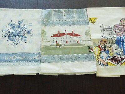 "3 Vintage All Linen Printed Kitchen Towels Measures: 17"" x 27"""