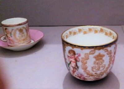 LOT 19th Century Sevres cups saucer duo AS IS