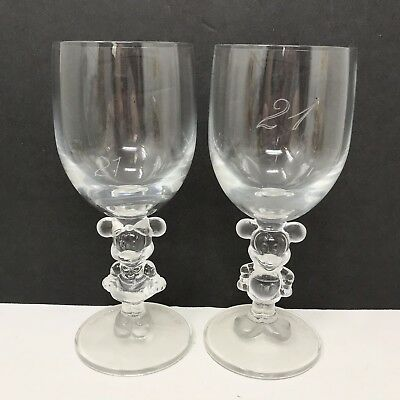 Pair of Vintage Walt Disney Company Clear Wine Glasses Mickey Minnie Mouse Stem
