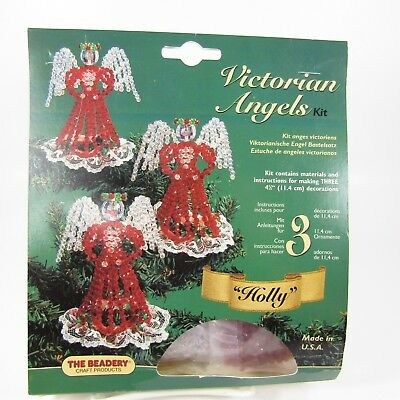 Victorian Angels Beaded Ornament Kit - Makes 3 - Holly Christmas Decoration NEW